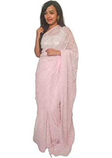 635e8a259e HerClozet Baby pink all over Lucknow chikankari hand embroidery Georgette  Tepchi saree with Blouse Piece-