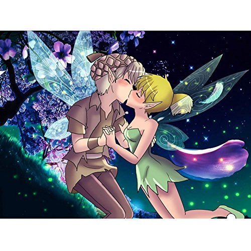 UPMALL DIY 5D Diamond Painting by Number Kits, Full Drill Crystal Rhinestone Embroidery Pictures Arts Craft for Home Wall Decoration Tinkerbell and Terence 15.75×11.81 inches