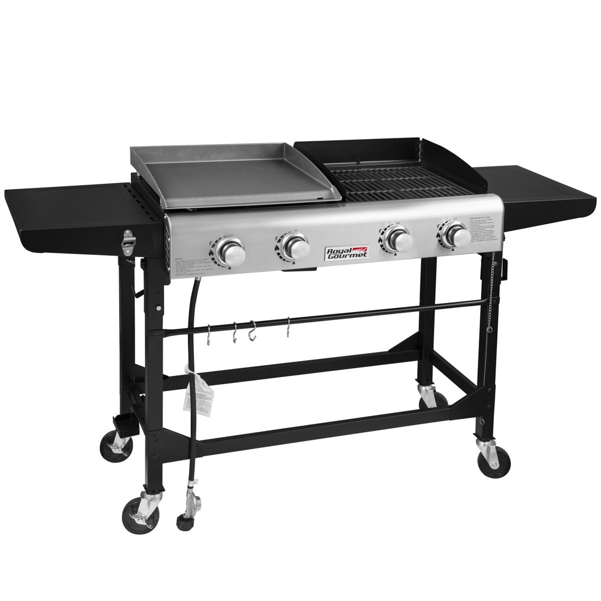 Royal Gourmet Portable Propane Gas Grill and Griddle Combo,4-Burner,Griddle Flat Top, Folding Legs,Versatile Outdoor Camping Stove with Side Table