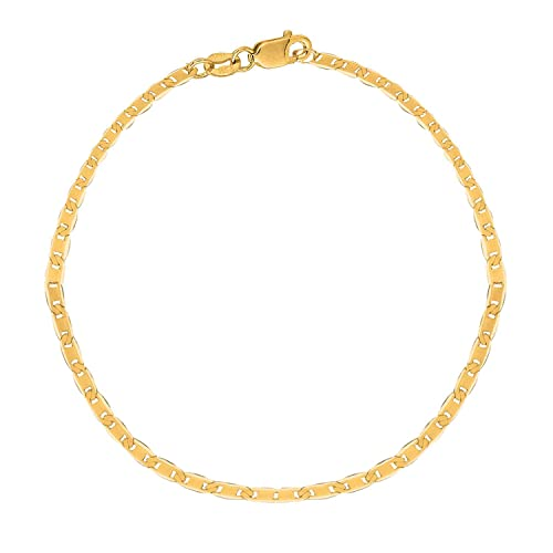 MCS Jewelry 10K Solid Yellow Gold Mariner Link Anklet, 10