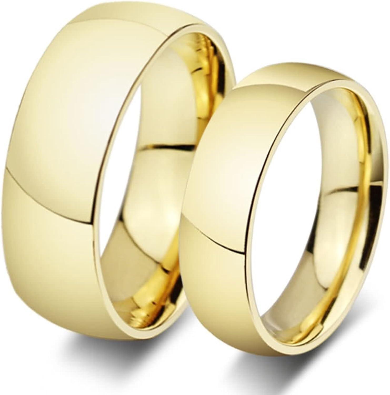 ROMQUEEN JOYERÍA 2 Piezas Anillo de 8MM/6MM Alianzas de Acero Pareja Oro Y Plata Anillos Diamantes Oro Blanco Anillo Mujer/Hombre de Oro(la Talla 6,75-31)