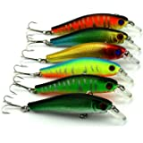 "Hengjia Pack of 6 Hard Plastic Minnow Fishing Lures Crankbaits Kit for Bass Crappie Trout Fishing Bait Tackle 8.5cm/3.35""/8.9g"