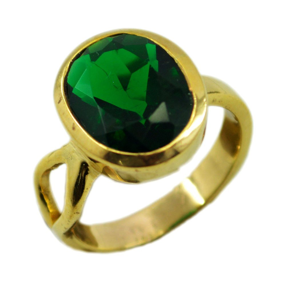 Emerald Cubic Zircon Gold Plated Ring For Women May Oval Shape Faceted Cut Jewelry 5,6,7,8,9,10,11,12