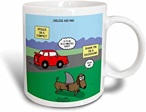 3dRose Useless Add-Ons - Compact Car With Spoiler Wiener Dog With Sharks Fin Magic Transforming Mug, 11 oz, Black/White