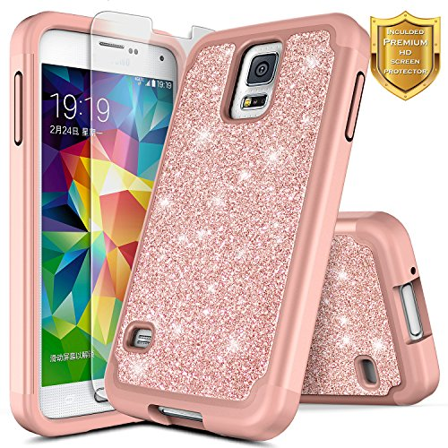 arkle Case w/[Screen Protector Premium HD Clear], NageBee Shiny Bling Shockproof Soft Silicone Hybrid Cover Luxury Girls Cute Case Designed for Samsung Galaxy S5 -Rose Gold ()