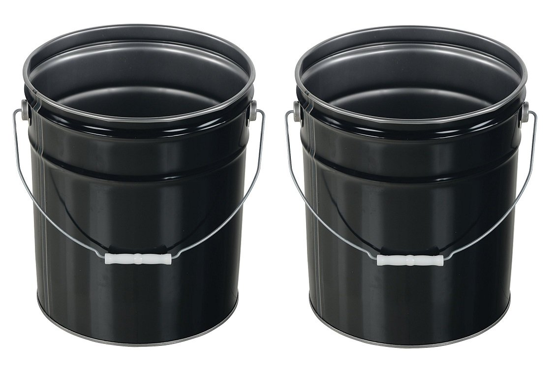 Vestil PAIL-STL-RI Steel Open Head Pail with Handle, 5 gallon Capacity, Black (Pack of 2)
