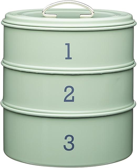 Kitchen Craft Living Nostalgia - Juego de 3 Cajas metálicas apilables para almacenaje de Alimentos (27 cm), Color ...