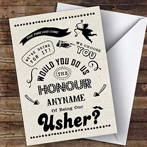 Rustic Will You Be My Usher Personalized Greetings Wedding Card
