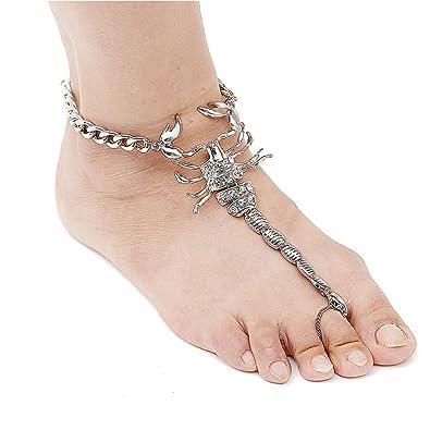 Amazon.com  NABROJ Women Scorpion Style Statement Foot Chain Silver ... b08f8f87ad2e