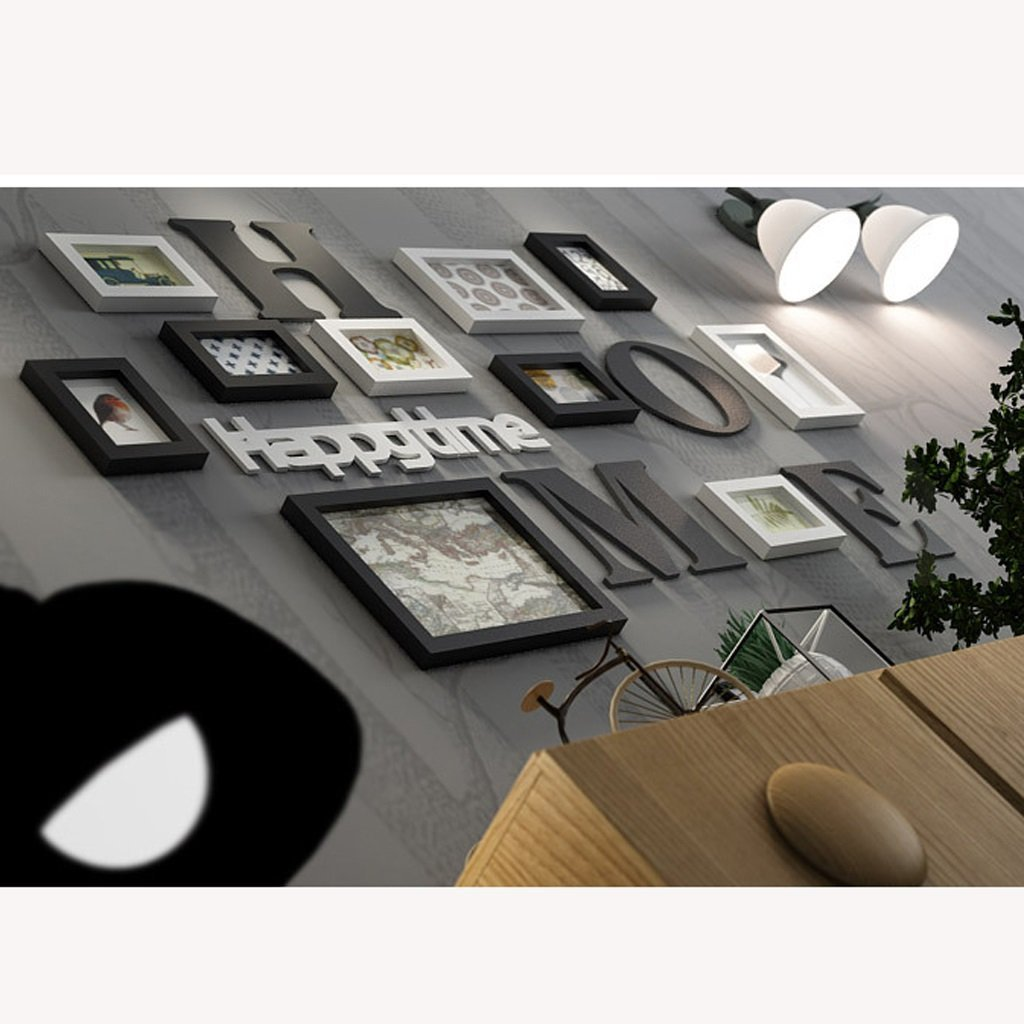 RFJJAL 10pcs Photo Wall Black and White Photo Frame Wall Gallery Kit Picture Frames Set Collage,Creative Restaurant Living Room Photo Wall Black