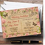 Pink Rose Vintage Shabby Chic Postcard Personalized Evening Reception Invitat...