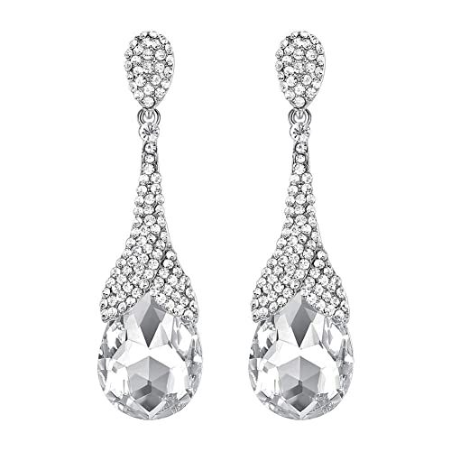 mecresh Vintage Style Pave Crystal Elegant Long Teardrop Earrings for Womens Clear/Champagne Rhinestone Bridal Wedding Engagement Jewelry