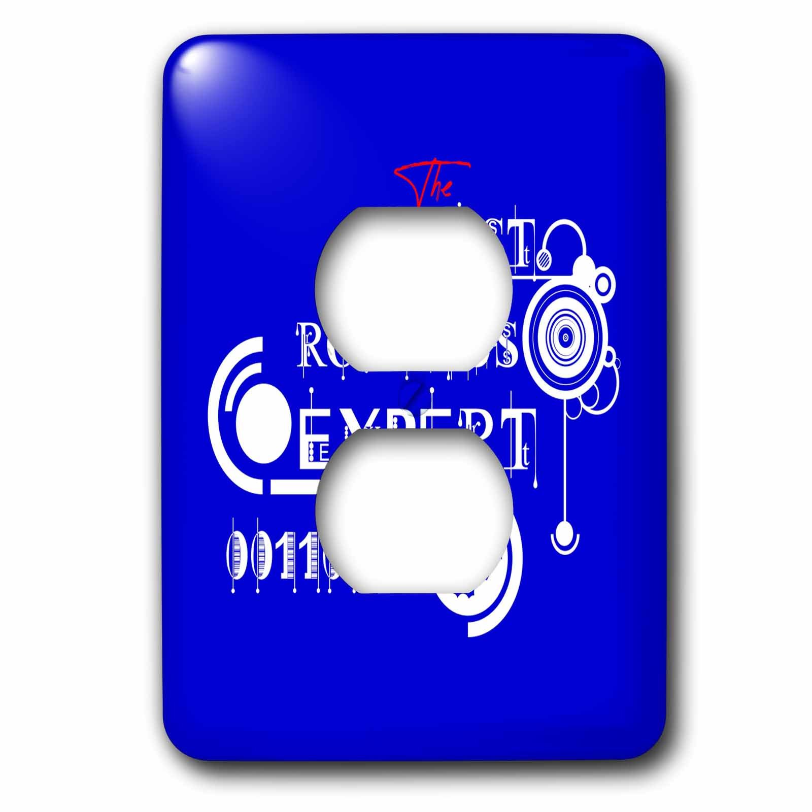 3dRose Alexis Design - Best Professional Ever - Beautiful white text The Best Robotics Expert, modern shapes on blue - Light Switch Covers - 2 plug outlet cover (lsp_286490_6)