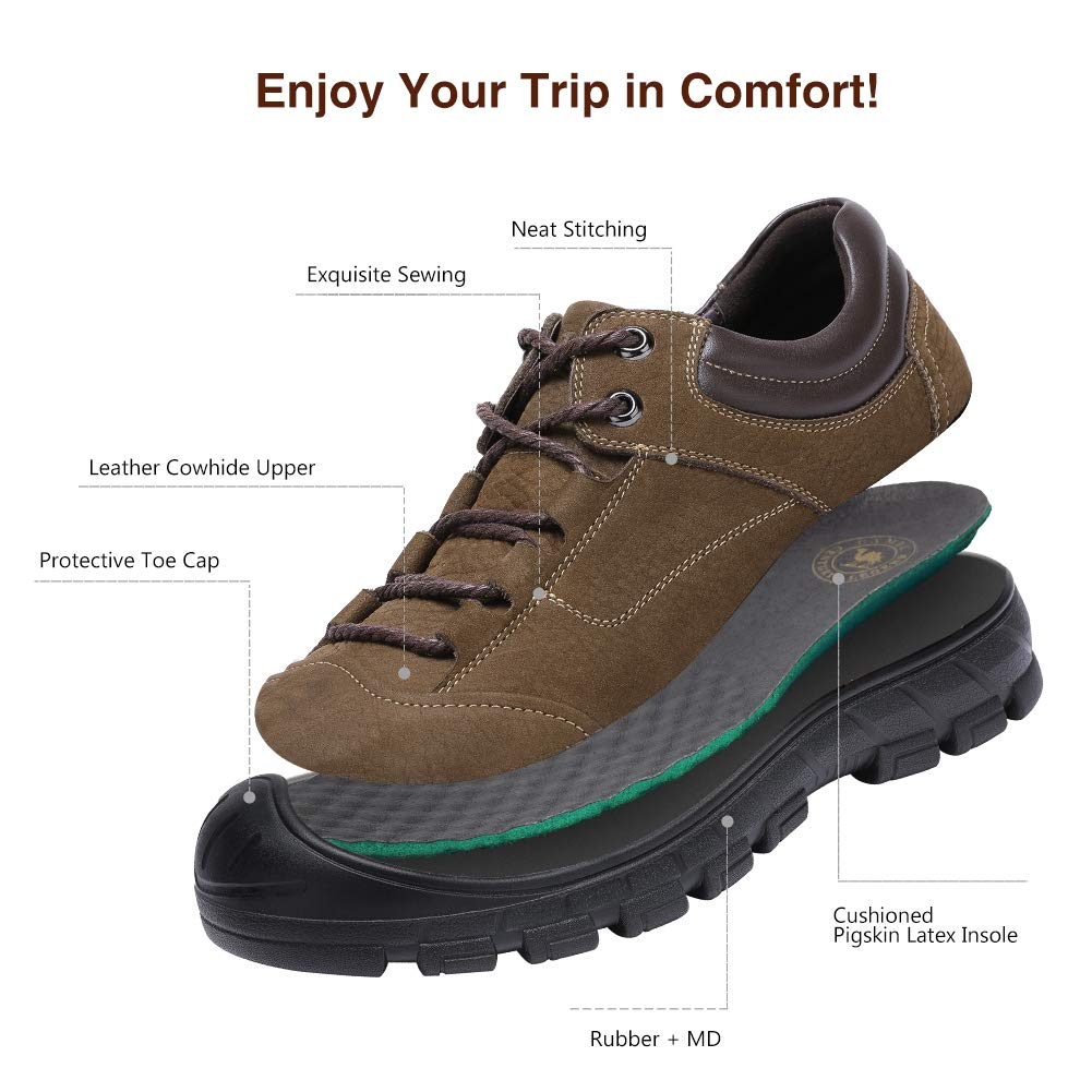 b734f3d84fc Mens Leather Hiking Shoes Anti-Slip Soft Outdoor Backpacking Shoe for  Trekking Walking Daily Wear