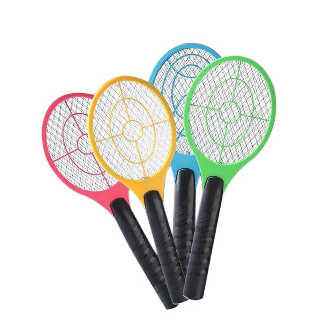 Jimmkey Mosquito Killer Electric Tennis Bat Handheld Racket Insect Fly Bug Wasp Swatter,Fly Swat Wasp Bug Mosquito Swatter Zapper,Photocatalyst Bug Zapper Electric Mosquito Killer Lamp not included Battery (random A)