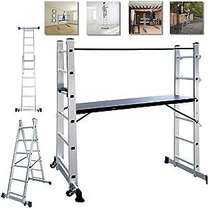 NAIZY - Estructura de aluminio, andamio, escalera de trabajo, escalera plegable, plataforma de trabajo, soporta hasta 150 kg, revestimiento antideslizante: Amazon.es: Bricolaje y herramientas