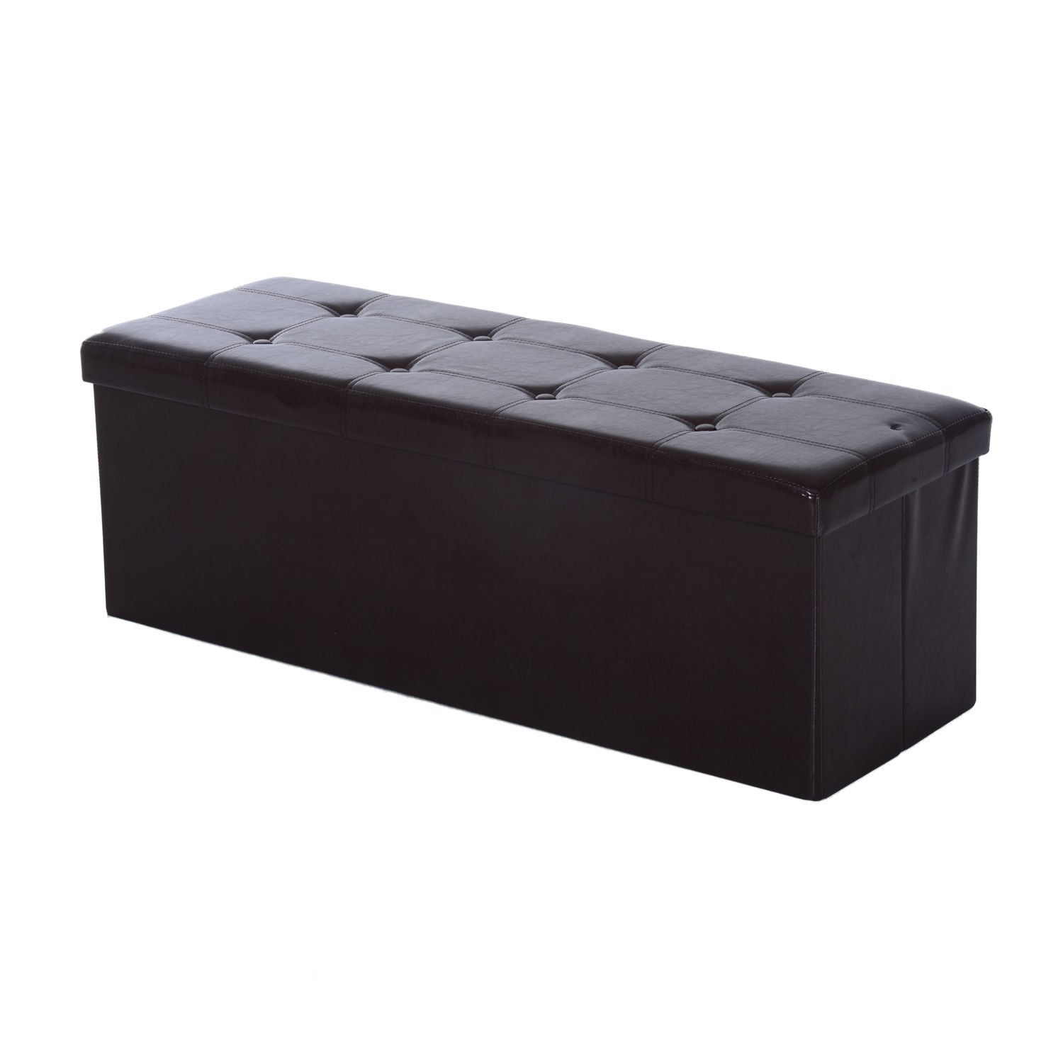 HOMCOM Collapsible Rectangular Faux Leather Storage Ottoman Box Stool Stool PU Bench Seat Folding Footstool w/Lid 110Lx38Wx38H(cm) (Brown) Sold by MHSTAR
