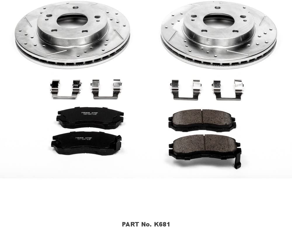 Power Stop K681 Front Ceramic Brake Pad and Cross Drilled//Slotted Combo Rotor One-Click Brake Kit