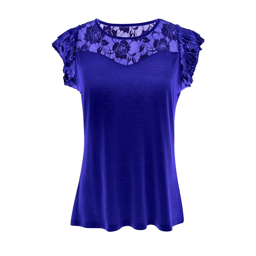 Auifor Frauen-beil/äufiges festes Patchworkspitze-Rose T-Shirt /übersteigt Bluse