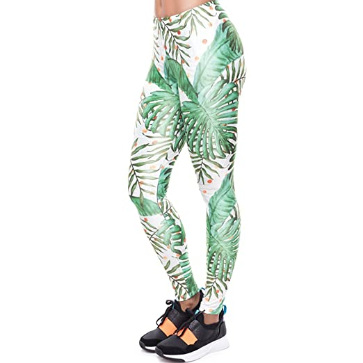 d7987b41ccc434 Image Unavailable. Image not available for. Color: Women Summer Fashion  Palm Leaf with Work Out Print Leggings
