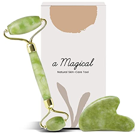 Natural Jade Roller and Gua Sha Set 2021 - Facial Beauty Tools Relieve Wrinkles Aging, Dark Circles and Muscle Relaxing - Massager for Face, Eyes, Neck, Body, Skin Care Routine - Noiseless Design