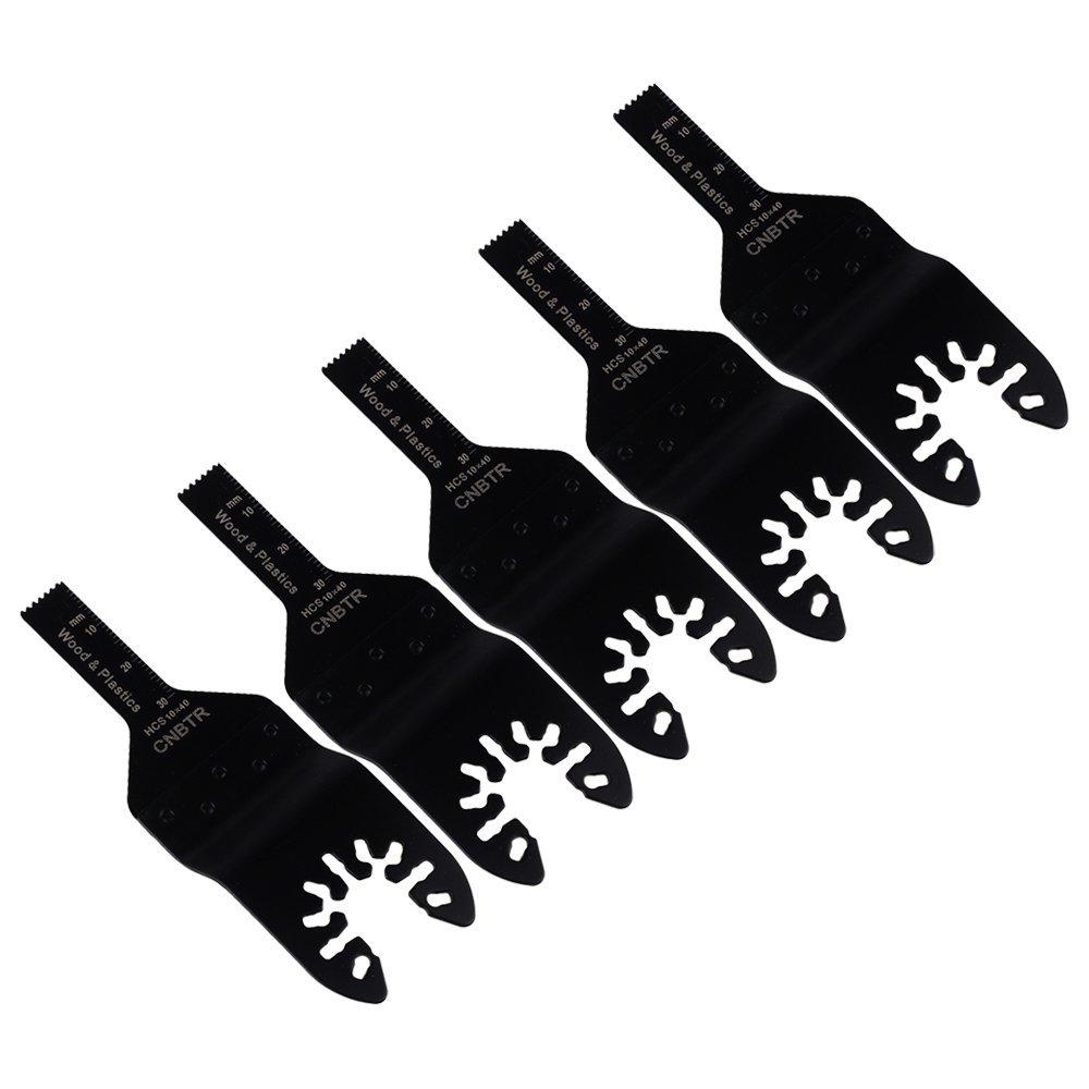 cnbtr negro 10 x 40 mm de acero al carbono hojas de sierra oscilante multiherramienta cuchillas de sierra precisió n de liberació n rá pida juego de 5 yqltd