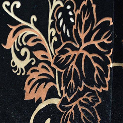 Black Umber Beige Leafy Vine Devore' Burnout 15% Silk 85% Rayon Blend Velvet Printed 45 Inch Wide Fabric By the Yard (Velvet Vine)