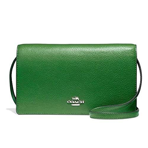 ed72ffff25 New COACH Pebble Leather Foldover Crossbody Clutch Bag Purse Kelly Green   Amazon.ca  Shoes   Handbags