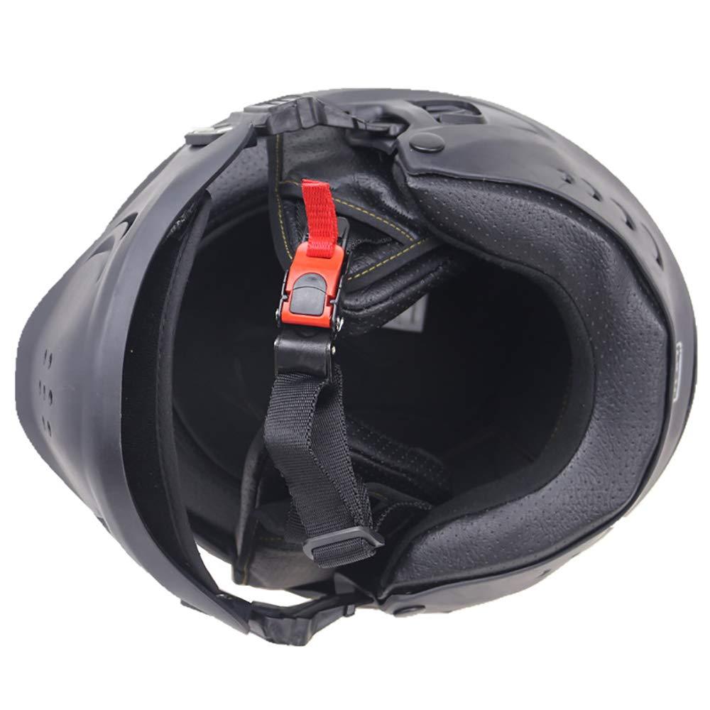 OLDF Casco Negro de la Motocicleta Dot Aprobado Colorete Casco Modelo Casco Modular para Ciclistas Reales Harley Retro Casco Desmontable m/áscara Cool