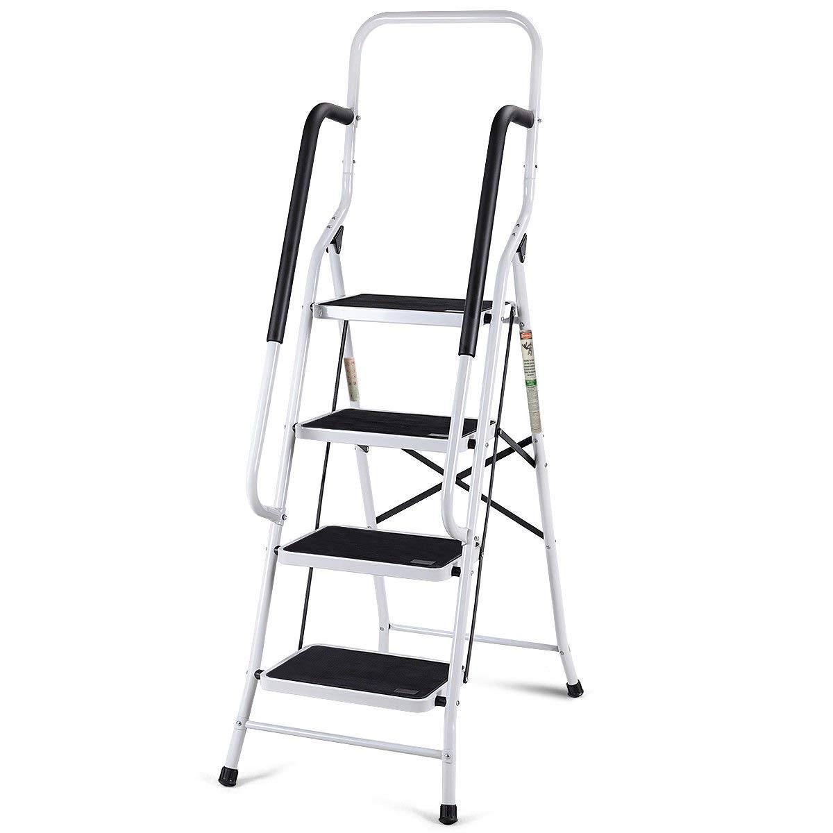 Giantex 2 in 1 Non-Slip Step Ladder Folding Stool w/Handrails and Tool Pouch Caddy (4 Step Ladder)
