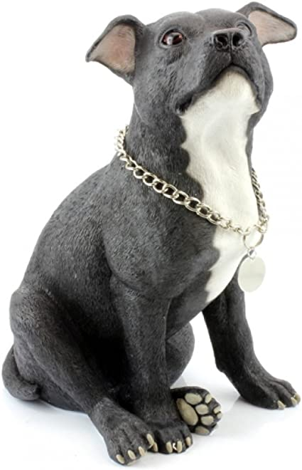 BLACK STAFFIE SITTING DOG ORNAMENT// FIGURINE WITH LEAD BY LEONARDO