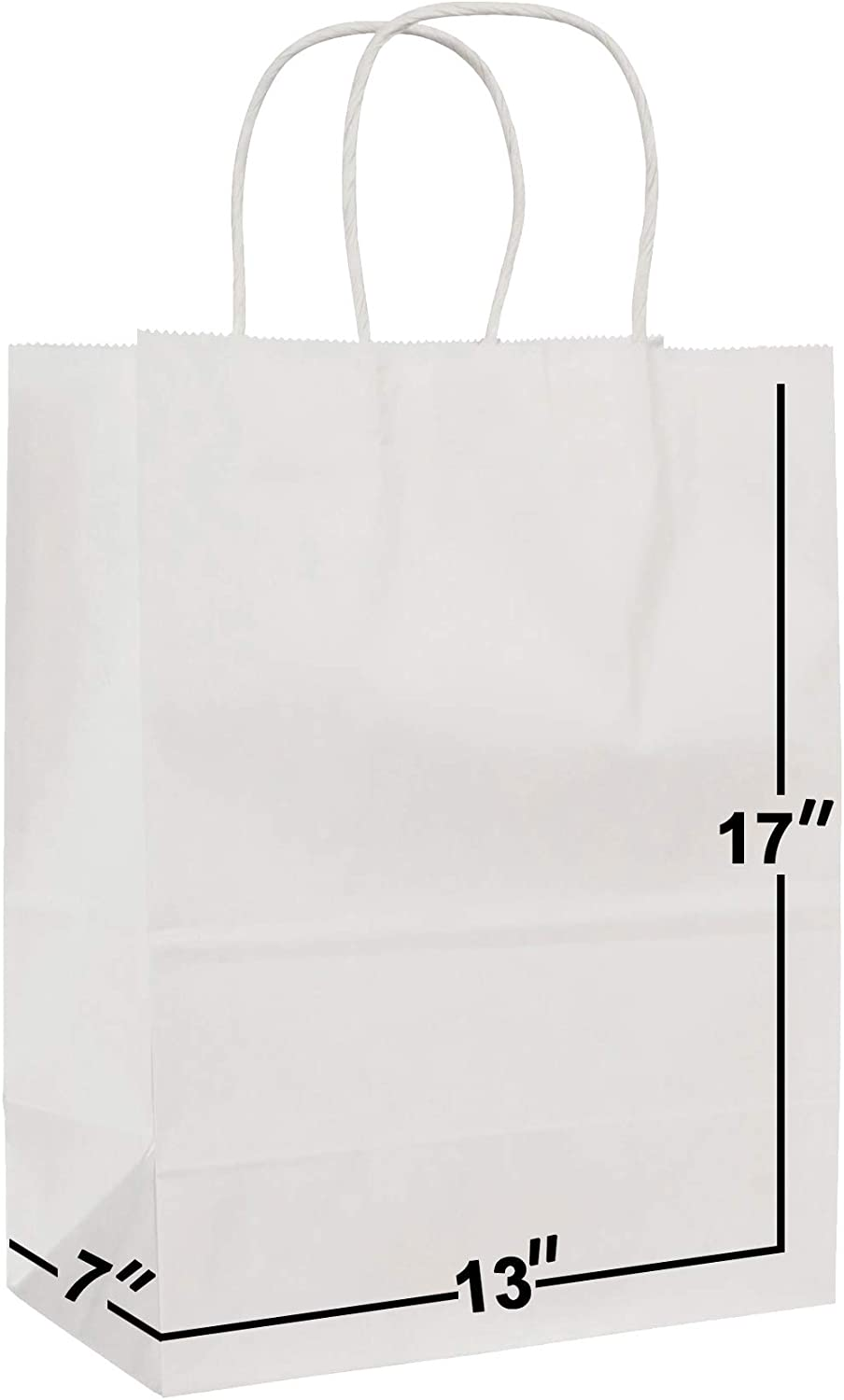 [50 Bags] 13 X 7 X 17 White Kraft Paper Gift Bags Bulk with Handles. Ideal for Shopping, Packaging, Retail, Party, Craft, Gifts, Wedding, Recycled, Business, Goody and Merchandise Bag