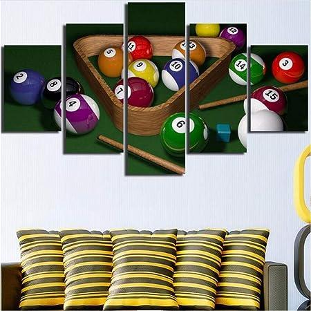 YANGSHUANG Billar Lienzo Arte de la Pared 5 Paneles Jugando Mesa ...