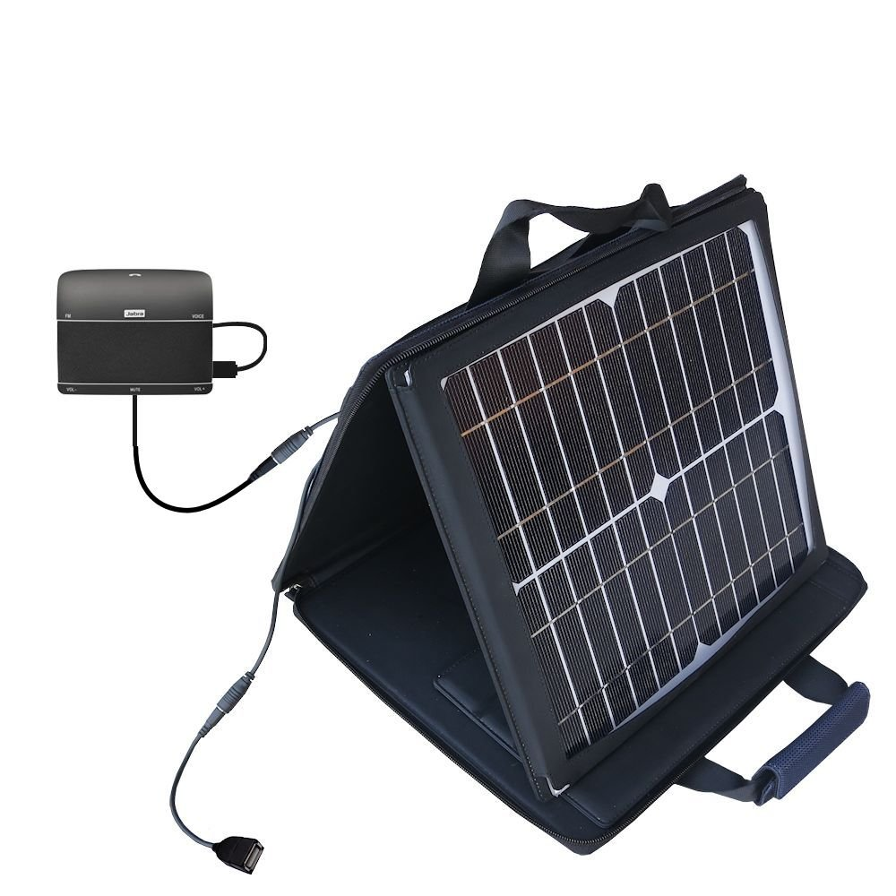 Gomadic SunVolt High Output Portable Solar Power Station designed for the Jabra FREEWAY - Can charge multiple devices with outlet speeds