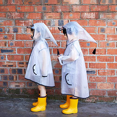 SaveStore Cross-Border for ins Explosive ren's Hooded Fringed Transparent Raincoat 15 Silk Eva Raincoat Pointy hat Big ()