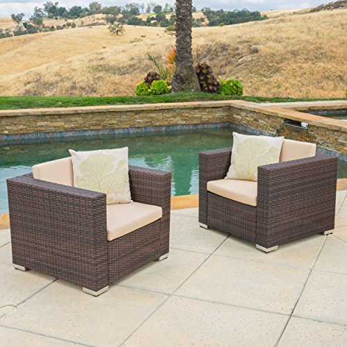 Westlake Outdoor Brown PE Wicker Sofa Club Chairs (Set of 2)