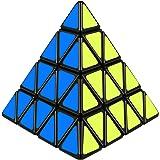 D-FantiX Shengshou Pyramid 4x4, Pyramid Speed Cube Puzzle (Black)