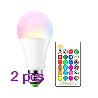 Bombilla LED RGBW de 15W, 2pcs E27 Cambio de color Lámpara LED Flash Estroboscópico Modo