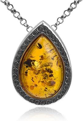 En argent sterling Pendentif classique en ambre en forme de goutte