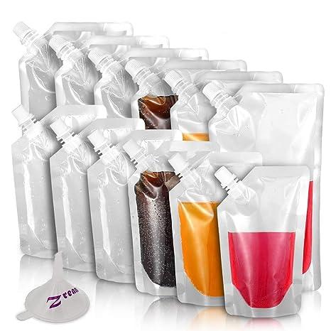 Zream - Botellas de plástico para bebidas (12 piezas, incluye bolsa de licor,