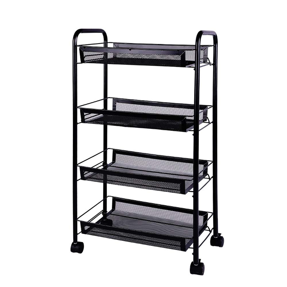 Beauty Salon Trolley, Carbon Steel Household Kitchen Storage Shelf 4 Layer Removable Pulley Living Room Storage Rack, Black, (LxWxH) 45x26x85cm