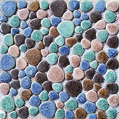 TST Porcelain Pebbles Tile Matt Green Blue Fambe Heart Shape Shower Floor Swimming Pool Ceramic Tiles TSTGPT007