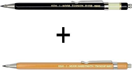 colori nero e giallo 2 Stifte Gelb Koh-I-Noor 5900 set da 2 Portamine in metallo con temperino per mine da 2 mm Toisen dor e Versatil 5201