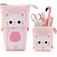 حقيبة أقلام رصاص من قماش EASTHILL بتصميم كارتون لطيف قطة قرطاسية حامل صندوق طالب فتاة الكبار (وردي)