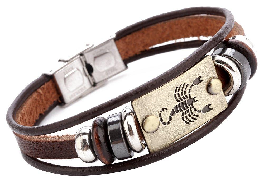 c8b012570d10db Hamoery Punk Beaded Alloy Multilayer Braided Rope Constellation Leather  Cuff Bracelet Bangle Wristband product image