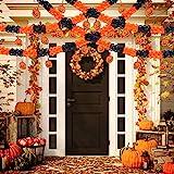 Jetec 6 Packs Halloween Pumpkin Banner Halloween Paper Garlands Halloween Decorations Banner Prop, Total 60 Feet Long