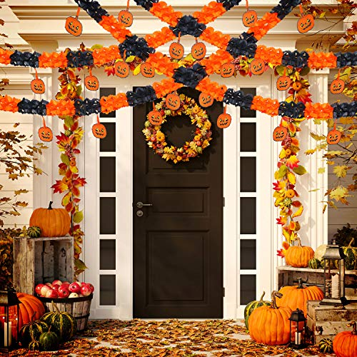 Jetec 6 Packs Halloween Pumpkin Banner Halloween Paper Garlands Halloween Decorations Banner Prop, Total 60 Feet Long