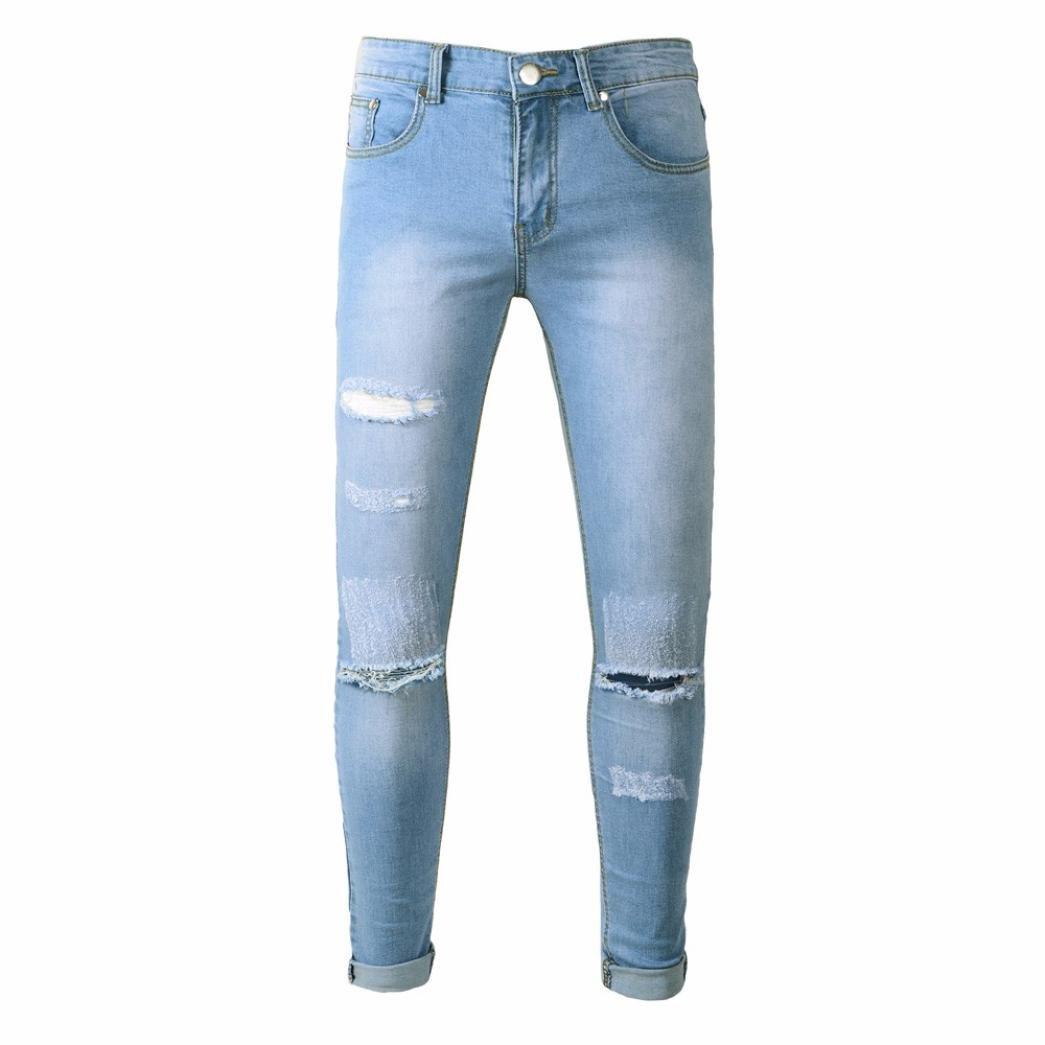 Ansenesna Hosen Herren Jeans Lang 2018 Slim Fit Destroyed Zerrissen Freizeithose Männer Denim Outdoor Vintage 18899