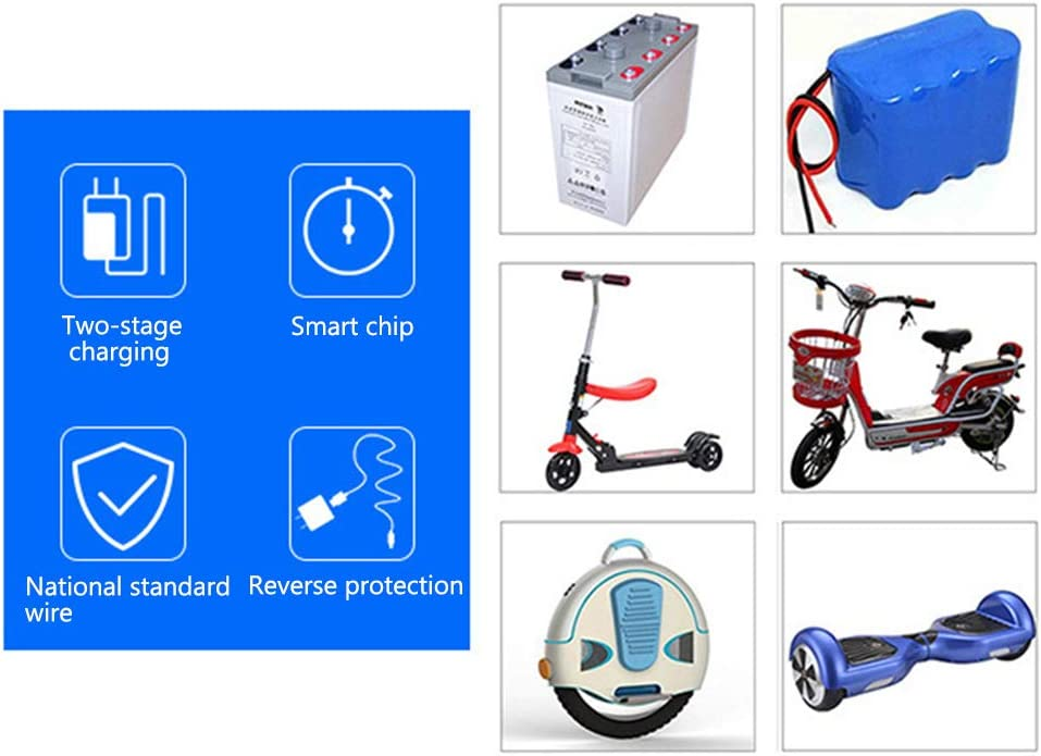 54.6V 58.4V 58.8V Intelligent Fast Charge Anti-Reverse Connection Electric Scooter Charger 10A High Power Lithium Battery Charger Compatible with Most Lithium Battery Products