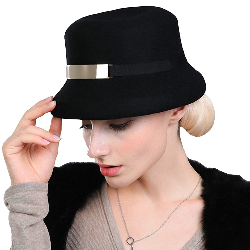 Maitose Women's Metal Belt Wool Felt Bucket Hat Black